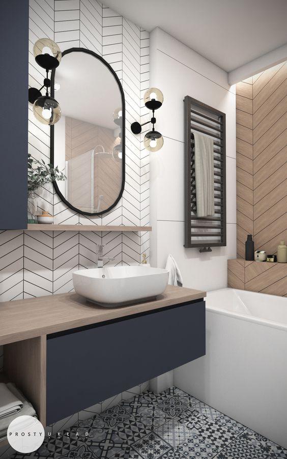 Carrelage géométrique salle de bain