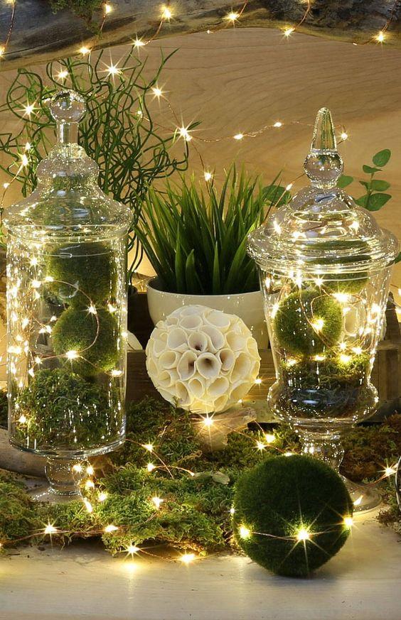 Centres de table de Noël verts