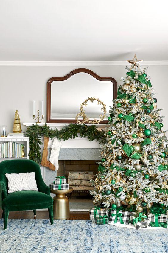 Cheminées de Noël en vert